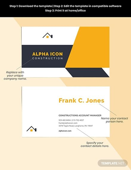 Construction Company Business Card Template Word Psd Apple Pages Illustrator Company Business Cards Business Card Template Word Business Card Logo Design