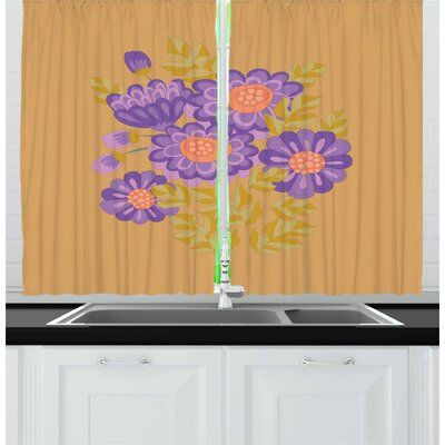 East Urban Home Aster 2 Piece Kitchen Curtain Set In 2020 Kitchen Curtain Sets Kitchen Curtains Curtain Sets