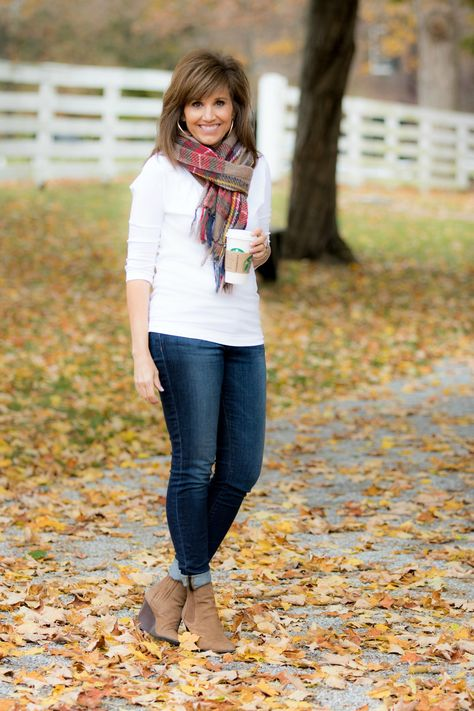 Fall Fashion Outfits Basic and simple, but cute! Easy go to outfit combo for fall and winter! (Stitchfix stylist: I like this wash for a casual variation of the really dark blue denim)