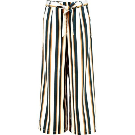 14ed034cb9f2 Boohoo Amera Tie Waist Woven Stripe Wide Leg Crop Trousers ($21) ❤ liked on  Polyvore featuring pants, wide leg palazzo pants, striped wide-leg pants,  ...