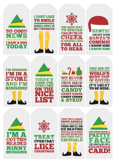 Elf Quote Gift Tags  Printable  Typography