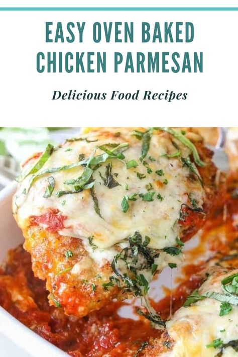 Easy Oven Baked Chicken Parmesan The fine hen parmesan recipe, made a bit healthier! Serve it over pasta, zucchini noodles, roasted greens or with a big salad to preserve it at the lighter side. #crockpot #crockpaotmeals #easycrockpotrecipes #Amazing