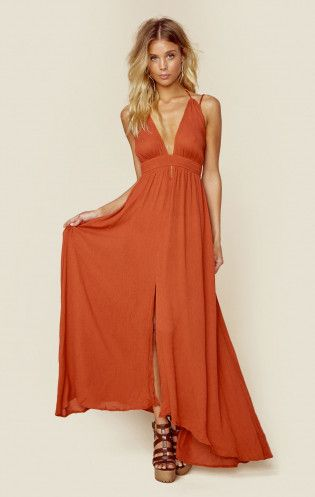f1bc844c10 Summer Beach Maxi Dress in Orange with V Neck