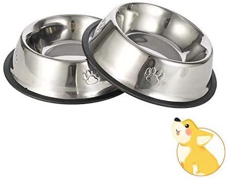26cm Comedero y Bebedero Perro Antideslizante para Mascotas Grande JINYJIA Comedero para Perro Acero Inoxidable 2 Unidades Comedero para Perro Gato