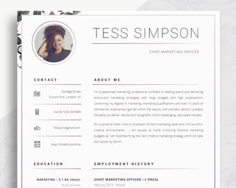 Resume Template 5 Page Cv Template Cover Letter Instant Etsy