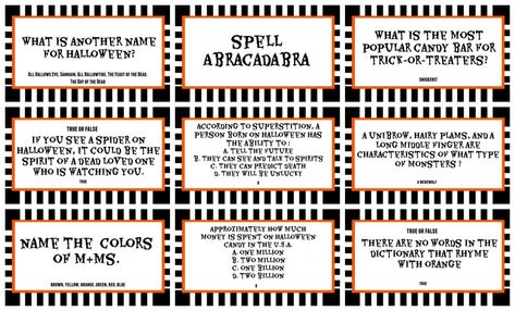Halloween Trivia Game With Free Printables Kids Version And Adult