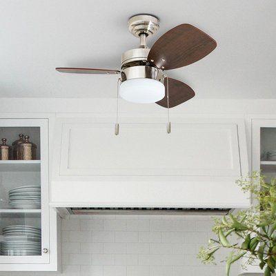 Ebern Designs 30 Charlack 3 Blades Led Ceiling Fan Light Kit Included Finish Brushed Nickel Ceiling Fan Fan Light Kits Living Room Lighting