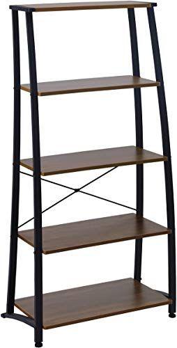 Amazon Com Contemporary Black Finish 5 Tier Ladder Book Shelf
