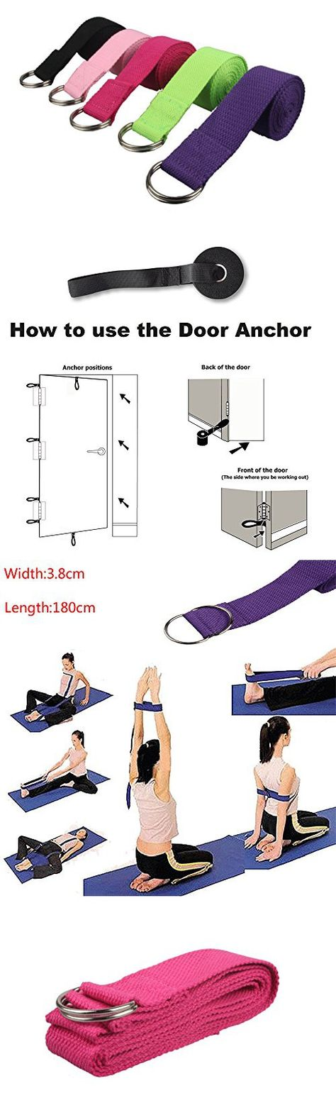 180CM Sport Yoga Stretch Strap D-Ring Belt Gym  Fitness  Comfortable  Flexible