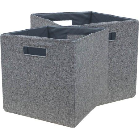 Better Homes And Gardens Fabric Cube Storage Bins 12 75 Inch X 12 75 Inch Set Of 2 Multiple Colors Gray Cube Storage Bins Cube Storage Storage Bins