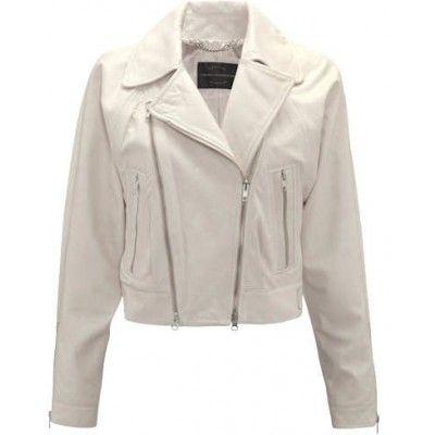 White Real Cowhide Leather Brando Zipper Style Handmade Fashionable Women Jacket Leather Jackets Women White Jacket Women Leather Jacket