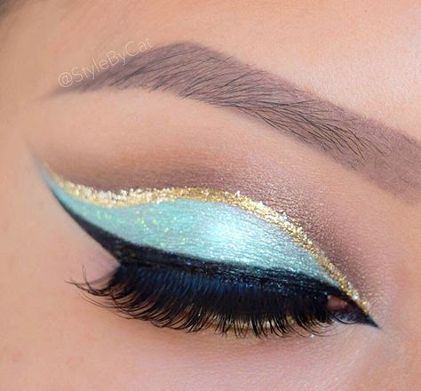 Mint and gold glitter Princess Jasmine inspired makeup