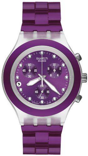 Swatch Men's Quartz Date Purple Dial Crystal Watch