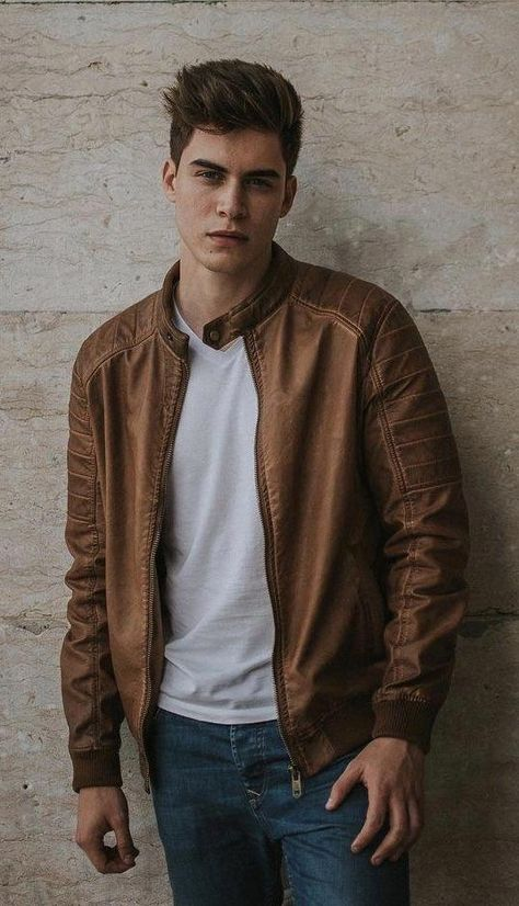 Fall fashion inspiration from Daniel Jesus – with a brown leather jacket white v-neck t-shirt blue jeans Source by runnineverlong
