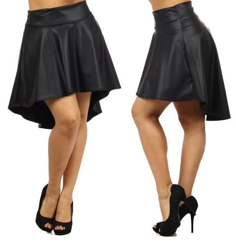 ddc217b1908 PLUS SIZE HIGH WAIST FAUX LEATHER SKIRT Asymmetric High Low Hem Flare 1X 2X  3X