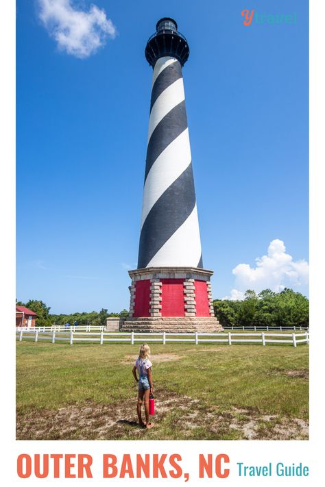 Did you know that Outer Banks is home to one of the tallest brick lighthouses in the US? From sights to see, places to stay, and fun things to do, we've put together a complete Outer Banks, North Carolina travel guide to help you make the most of your trip! Check it out on our blog. #OuterBanks #NorthCarolina #NorthCarolinaVacation #BeachVacations #FamilyVacationIdeas #AdventureVacations #USRoadTrip