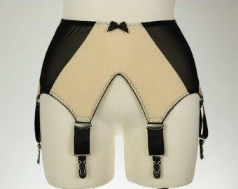 Black White Red Pink Sheer GRETA 6 strap Garter belt Transparent Suspender Belt Size XS-4XL
