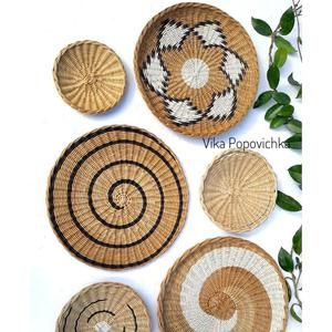 Set Of 4 Wall Baskets African Inspired Woven Plates Bohemian Wall Decor Handmade Easter Housewarming Gift In 2021 Baskets On Wall Wicker Wall Plates On Wall
