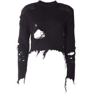 Yeezy by Kanye West Destroyed Crop Blouclè Sweater ( Season 3 ) Cropped Sweater, Long Sleeve Sweater, Long Sleeve Shirts, Kanye West Shirt, Kleidung Design, Ripped Shirts, Yeezy By Kanye West, Dolce & Gabbana, Crop Shirt