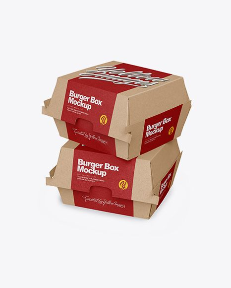 Download Two Kraft Burger Boxes Mockup Half Side View In Box Mockups On Yellow Images Object Mockups Burger Box Free Mockup Box Mockup