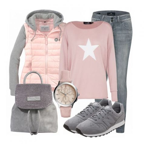 Sporty outfit - winter outfits at FrauenOutfits.de - Casual look made of pink pullover, pink jacket and gray New Balance sneakers … -