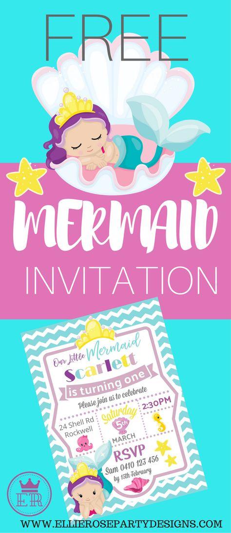 Mermaid Under The Sea Invitation How To With Picmonkey Ellierosepartydesigns Com Mermaid Birthday Invitations Free Mermaid Birthday Invitations Mermaid Invitations