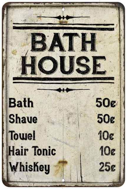 Bath House Price List Vintage Look Chic Distressed 8x12 Metal Sign Bath House Vintage Store Signs House Prices