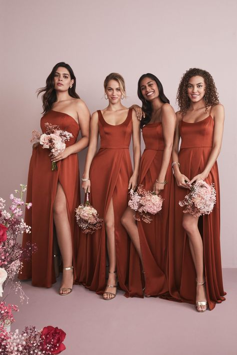 Coordinating your wedding party is a snap at David's Bridal. Our new mix-and-match dresses are designed to go together and flatter every friend. You choose the color and silhouette, then your maids pick their neckline. Wedding Bridesmaid Dresses, Wedding Attire, Wedding Gowns, Burnt Orange Bridesmaid Dresses, Flattering Bridesmaid Dresses, Burnt Orange Weddings, Bridal Party Dresses, Bridesmaid Dress Colors, Bridesmaid Ideas