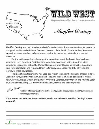 The Wild West: Manifest Destiny | Social studies worksheets ...