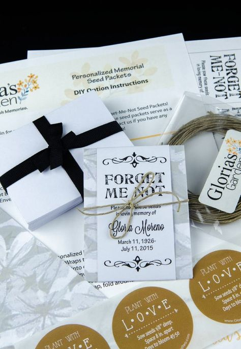 """Share the love in remembering loved ones who have passed with these  super simple do-it-yourself personalized memorial gray and white floral forget-me-not seed packets.  Perfect for funerals, memorial services and life celebrations.Our Do-It-Yourself Packages come with all of the components EXCEPT THE SEEDS to complete these exact packets on your own.  These packages includes envelopes to encase your own seeds, sowing labels to double seal the envelopes that read """"plant with love"""", gray and whit"""