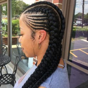 2 Goddess Braids With Weave Feed In Braids Hairstyles Two Braid