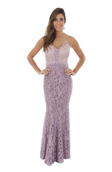 Vestido lilás em renda