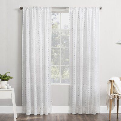 Domenic Clipped Swiss Dot Semi Sheer Rod Pocket Single Curtain