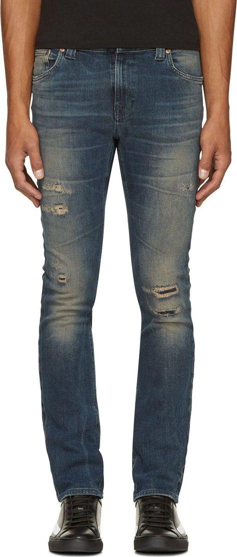 570dc493 Nudie Jeans: Indigo Distressed Tube Tom Jeans   SSENSE
