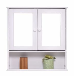 Bathroom Medicine Cabinet Wall Mounted Mirrored With 2 Doors