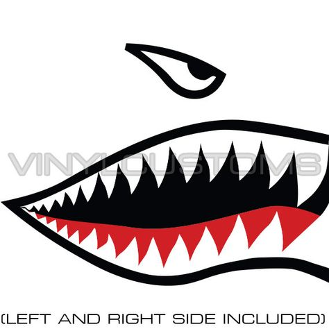 Flying Tigers Shark Teeth (Left and Right side included) Quantity: 1 Pair of vinyl decals  2- Mouth Dimensions: 2 length x 1.17 height Eye