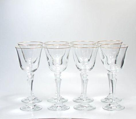 CRYSTAL STEMWARE GOLD RIM WINE GLASSES
