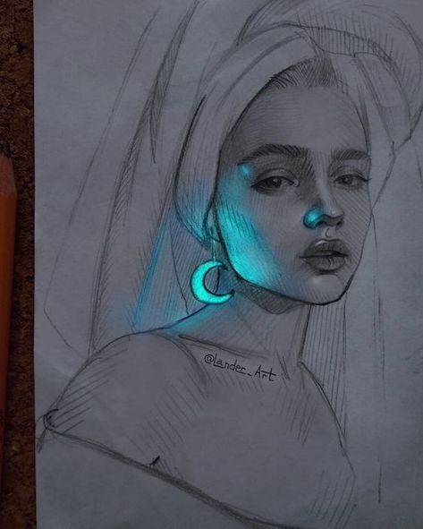 neon moon light draw something drawing figures drawing illustration inktense pencils sketch ideas