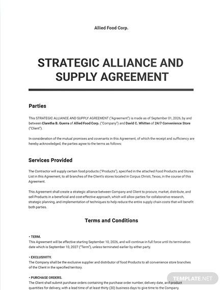 11 Free Supply Agreement Templates Edit Download Template Net Rental Agreement Templates Separation Agreement Template Agreement