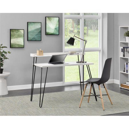 Ameriwood Home Haven Retro Computer Desk With Riser Multiple Colors Walmart Com Retro Desk Furniture Wood Writing Desk