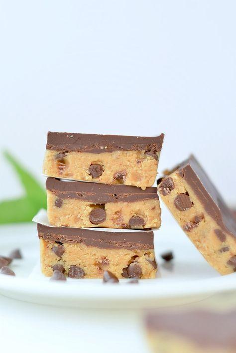 Cookie dough bars no bake + keto + vegan