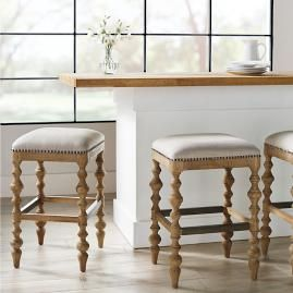 Campbell Carved Backless Bar Counter Stools Counter Stools Backless Bar Stools Farmhouse Bar Stools