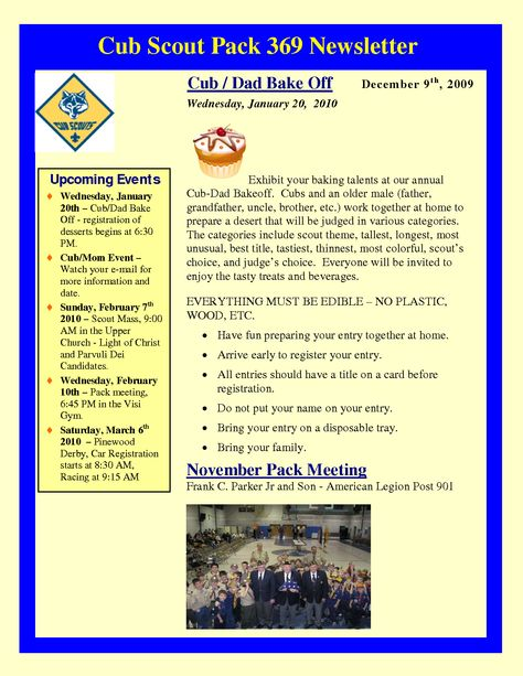 Cub Scout Newsletter Template Attachments Cub Scouts - church newsletter