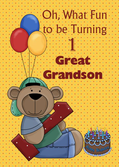 Great Grandson 1st Birthday Bear With Balloons Card Ad St Grandson Great Birthday 1st Birthday Cards 1st Birthday Happy 1st Birthdays