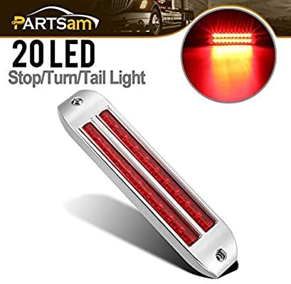 Amazon Com Partsam 8 1 4 Red Led Stop Turn Tail Light Bar 20 Led Flush Mount Chrome W Dual 10 Led 6 1 2 Led Truck Tr In 2020 Tail Light Led Flush Mount Bar Lighting