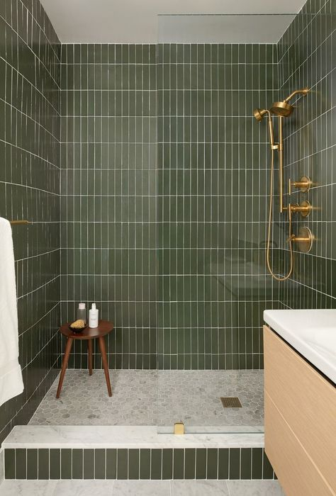 Bathrooms; Shower; Interiors; Green Subway Tiles; renovation; brass hardware; go... #bathrooms #green #interiors #renovation #shower #subway #tiles