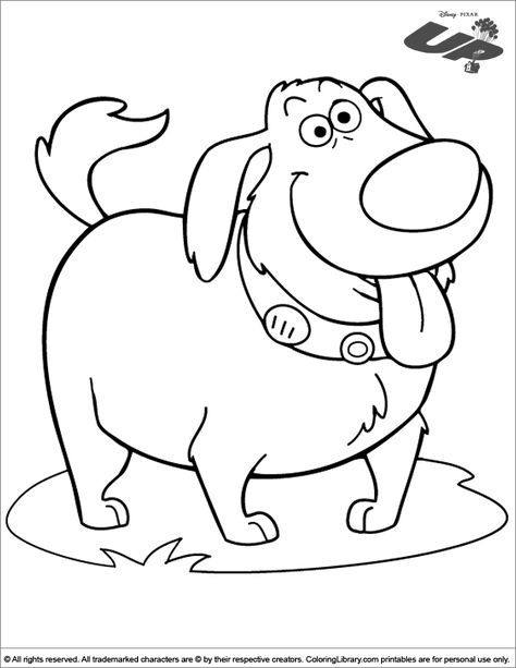 The Cute Dog From The Movie Up Coloring Page Coloring Books Coloring Pages Coloring Book Pages