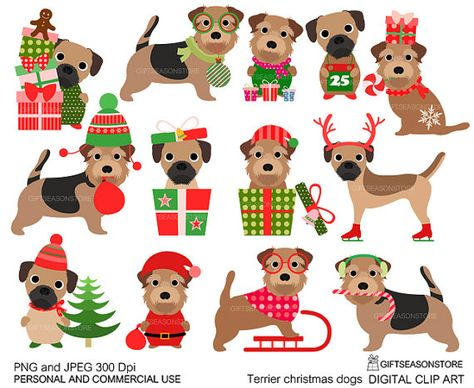 Christmas dog border terrier and norfolk by Giftseasonstore