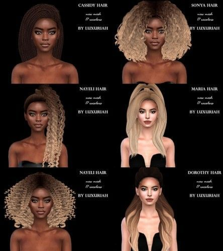 First Hairstyle Pack P By Luxuriah Sims For The Sims 4 Sims Hair Hairstyle Sims 4 Black Hair