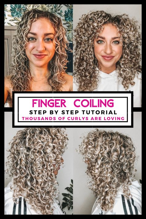 How To Finger Coil Curly Hair Craving more definition in your curls? Less frizz? And more volume? Curly Hair Styles, Curly Hair Tips, Curly Hair Care, Natural Hair Styles, Finger Curls, Curly Hair Problems, Curly Hair Tutorial, Curly Hair Routine, Curly Girl Method